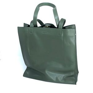 Banana republic green leather tote bag